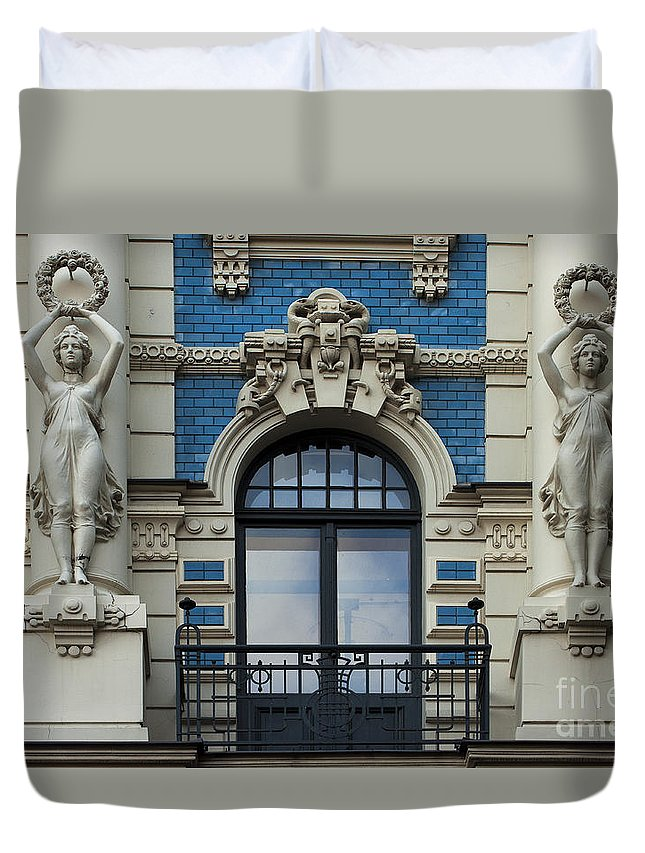 Riga Duvet Cover featuring the photograph Art Nouveau In Riga by Christian Hallweger