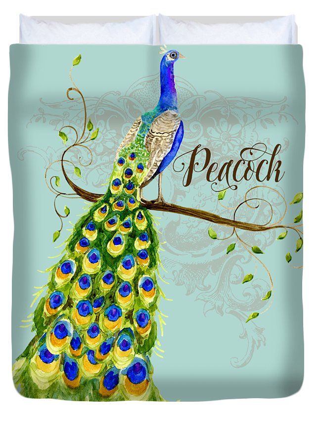 Art Nouveau Duvet Cover featuring the painting Art Nouveau Peacock W Swirl Tree Branch And Scrolls by Audrey Jeanne Roberts