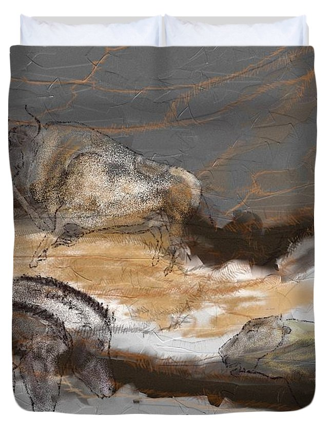 Victor Shelley Duvet Cover featuring the digital art Art Rupestre by Victor Shelley