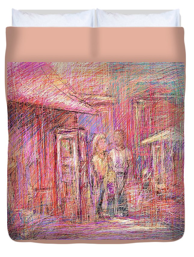 Abstract Duvet Cover featuring the digital art Art Show by Rachel Christine Nowicki