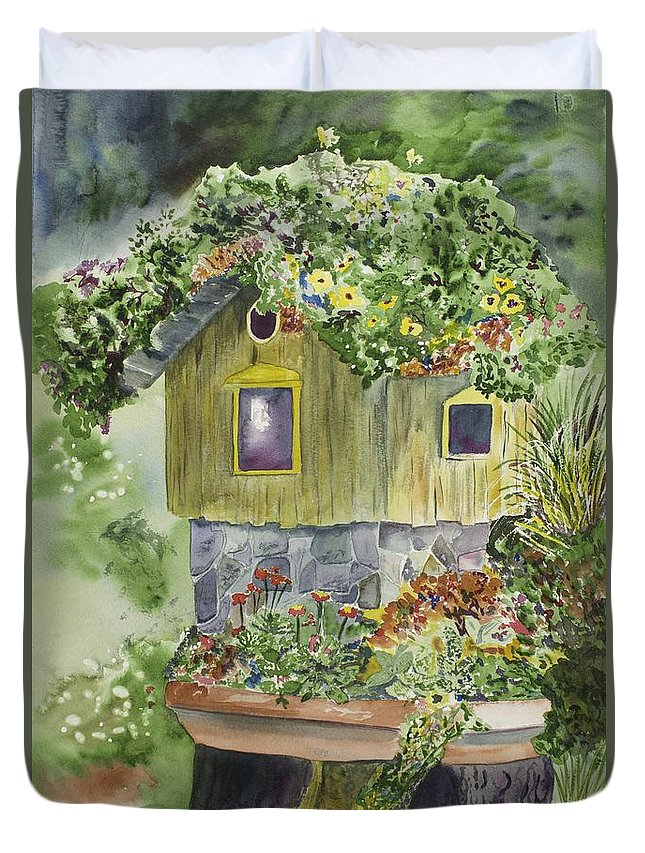 Watercolor Duvet Cover featuring the painting Artful Birdhouse by Mary Byington