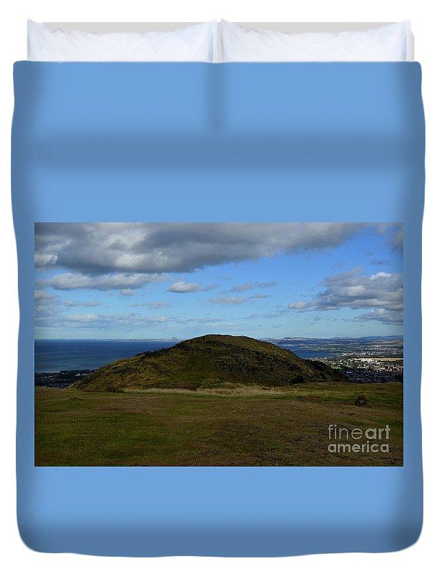 Arthur's Seat Duvet Cover featuring the photograph Arthur's Seat And Edinburgh Scotland by DejaVu Designs