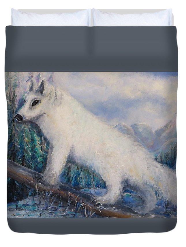 Artic Duvet Cover featuring the painting Artic Fox by Bernadette Krupa