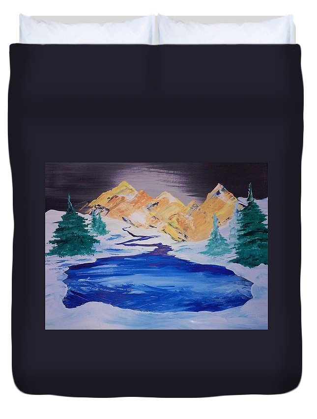 Frozen Lake Painting Duvet Cover featuring the painting Artic Lake by Jami Lynn Tucker