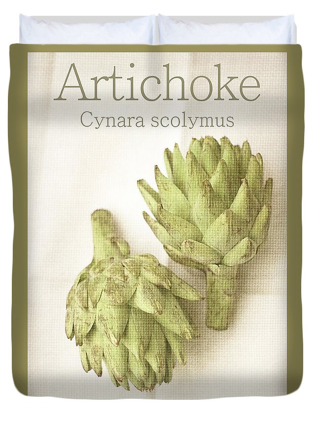 Artichoke Duvet Cover featuring the photograph Artichoke Cynara Scolymus by Suzanne Powers