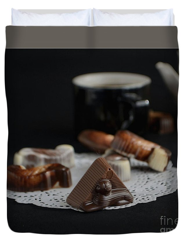 Belgian Chocolate Duvet Cover featuring the photograph Artisanal Belgian Chocolate by Luv Photography