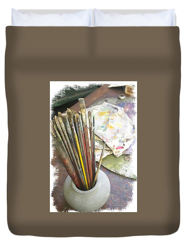 Artist Duvet Cover featuring the photograph Artist Brushes by Margie Wildblood