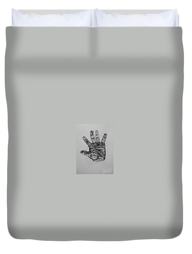 Hands Duvet Cover featuring the drawing Artist Hand Variation I by Jamey Balester