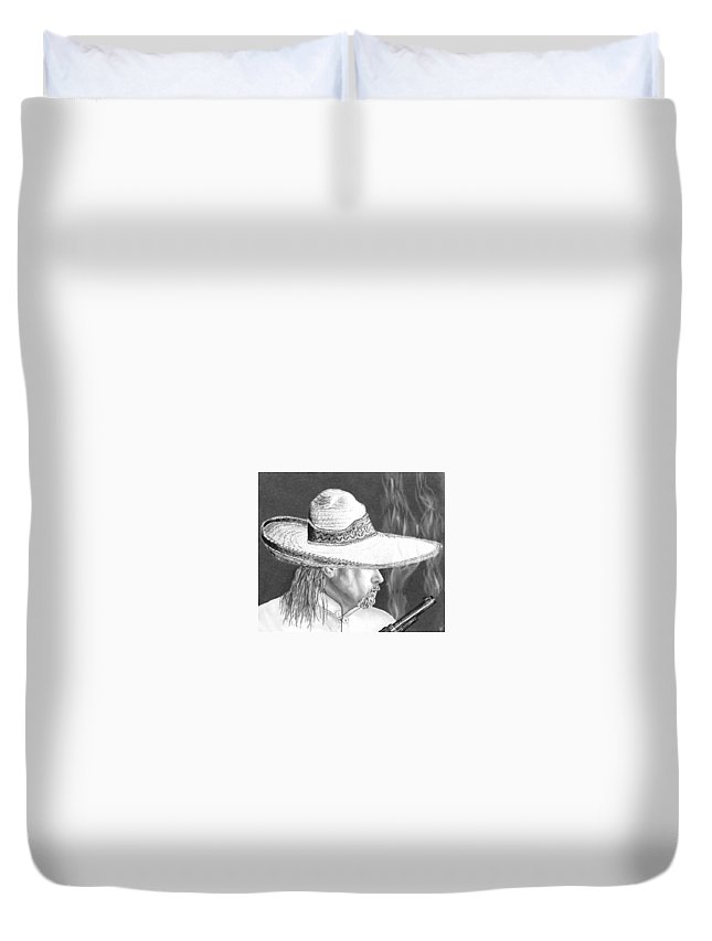 Portrait Duvet Cover featuring the drawing Artist Self Portrait by Trey McCoy