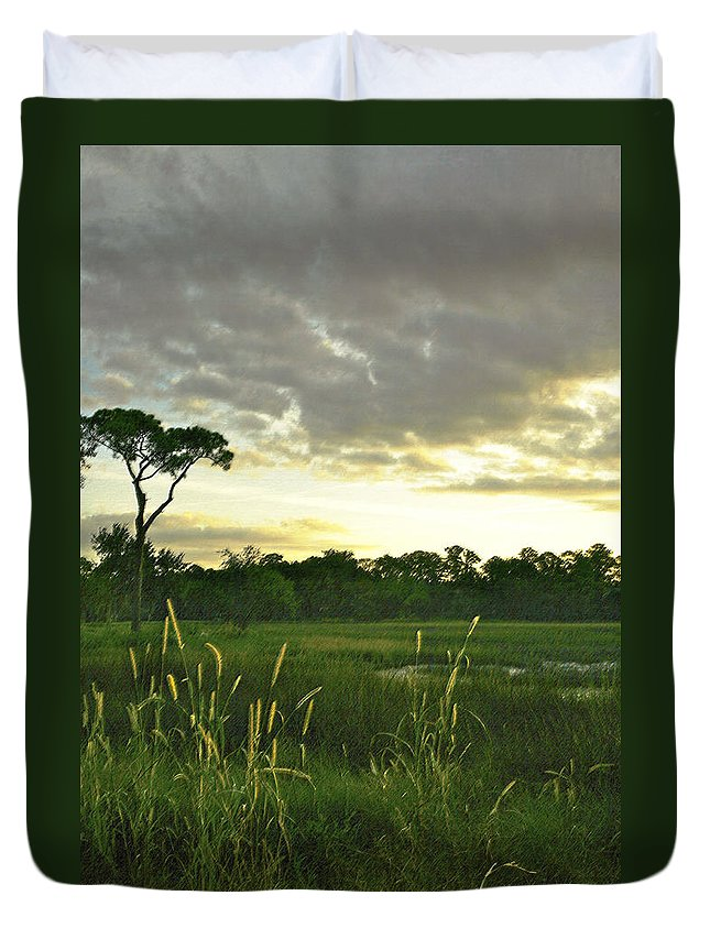 Sunrise Duvet Cover featuring the photograph Artistic Lush Marsh by Phill Doherty