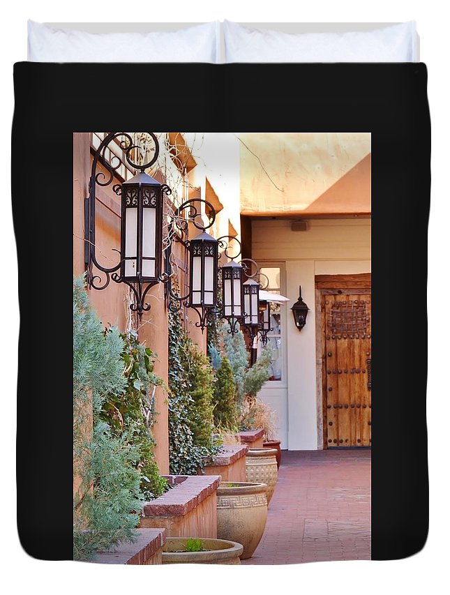 Santa Fe Duvet Cover featuring the photograph Santa Fe Garden Courtyard by Cherie Cokeley