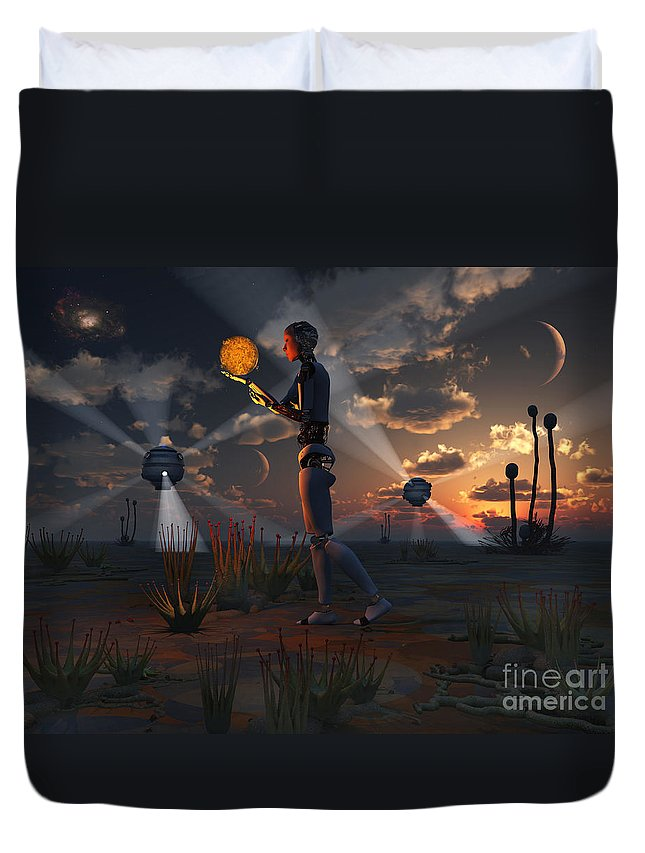 No People Duvet Cover featuring the digital art Artists Concept Of A Quest To Find New by Mark Stevenson