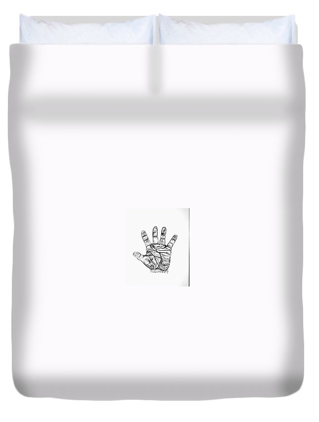 Hands Duvet Cover featuring the drawing Artists Hand Variation I by Jamey Balester
