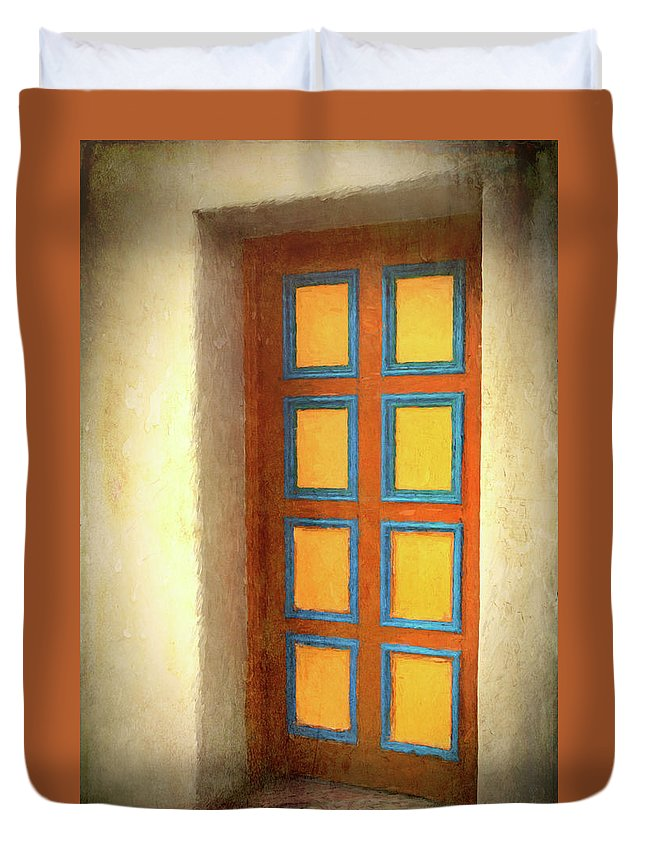 Door Duvet Cover featuring the photograph Arts Center Door by Mitch Spence