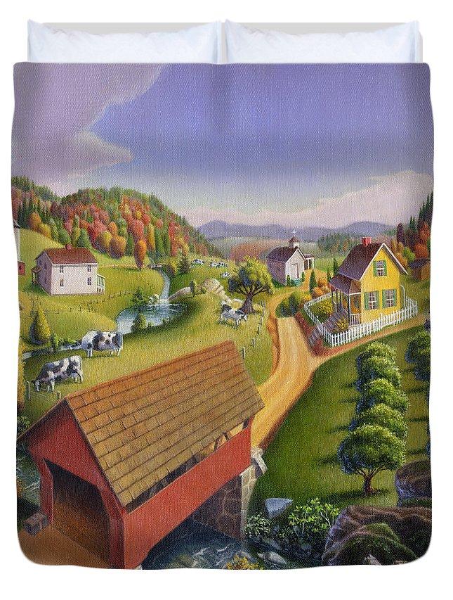 Covered Bridge Duvet Cover featuring the painting Folk Art Covered Bridge Appalachian Country Farm Summer Landscape - Appalachia - Rural Americana by Walt Curlee