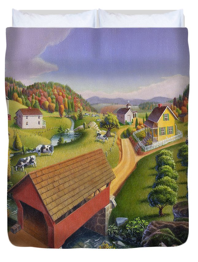 Covered Bridge Duvet Cover featuring the painting Folk Art Covered Bridge Appalachian Country Farm Summer Landscape - Appalachia - Rural Americana by Walt Curlee