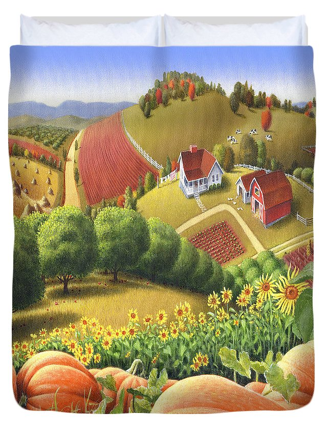 Pumpkin Duvet Cover featuring the painting Farm Landscape - Autumn Rural Country Pumpkins Folk Art - Appalachian Americana - Fall Pumpkin Patch by Walt Curlee
