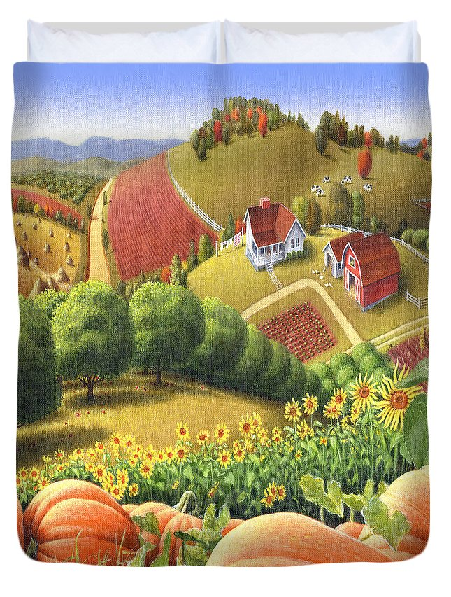 Pumpkin Duvet Cover featuring the painting Farm Landscape - Autumn Rural Country Pumpkins Folk Art - Appalachian Americana - Fall Pumpkin Patch by Walt Curlee