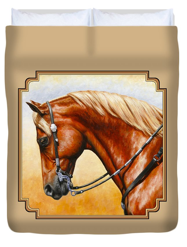 Horse Duvet Cover featuring the painting Precision - Horse Painting by Crista Forest