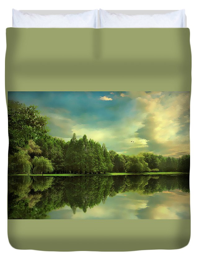 Landscape Duvet Cover featuring the photograph Summer Reflections by Jessica Jenney