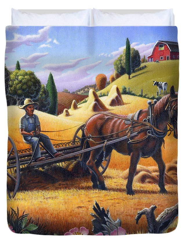 Raking Hay Duvet Cover featuring the painting Raking Hay Field Rustic Country Farm Folk Art Landscape by Walt Curlee