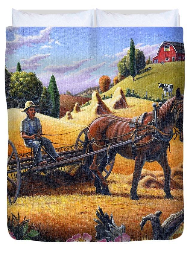 Raking Hay Duvet Cover featuring the painting Raking Hay Field Rustic Country Farm Folk Art Landscape by Walt Curlee