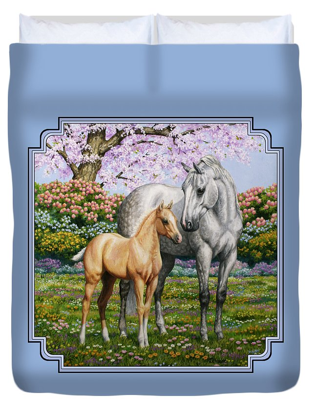 Horse Duvet Cover featuring the painting Spring's Gift - Mare And Foal by Crista Forest