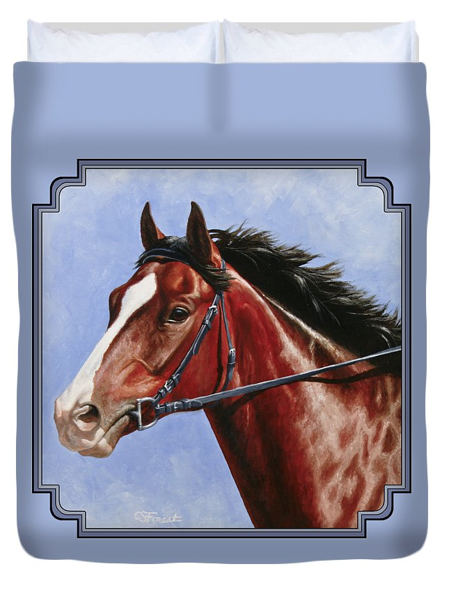 Horse Duvet Cover featuring the painting Horse Painting - Determination by Crista Forest