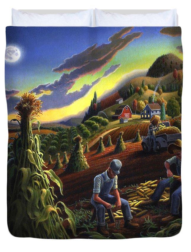 Autumn Duvet Cover featuring the painting Autumn Farmers Shucking Corn Appalachian Rural Farm Country Harvesting Landscape - Harvest Folk Art by Walt Curlee