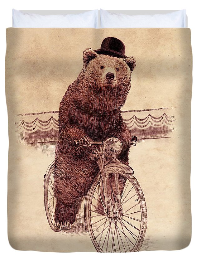 Bear Duvet Cover featuring the drawing Barnabus by Eric Fan