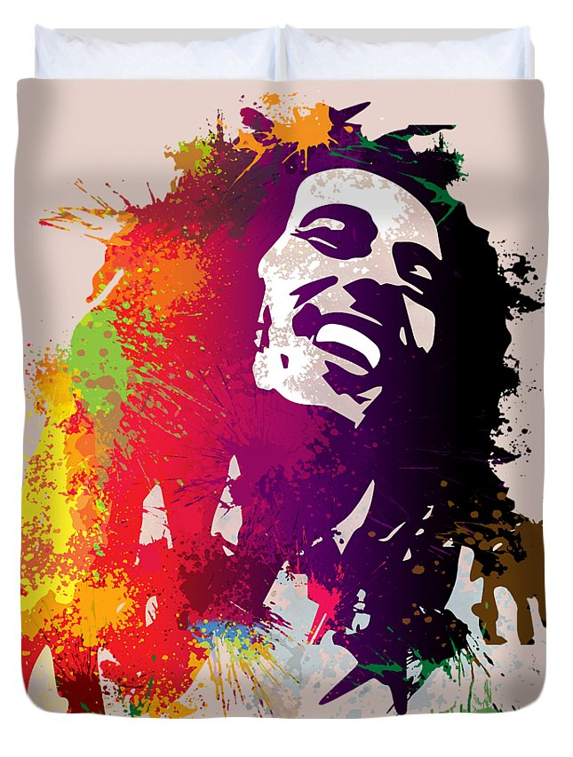 Reggae Duvet Cover featuring the painting Nesta Robert by Anthony Mwangi