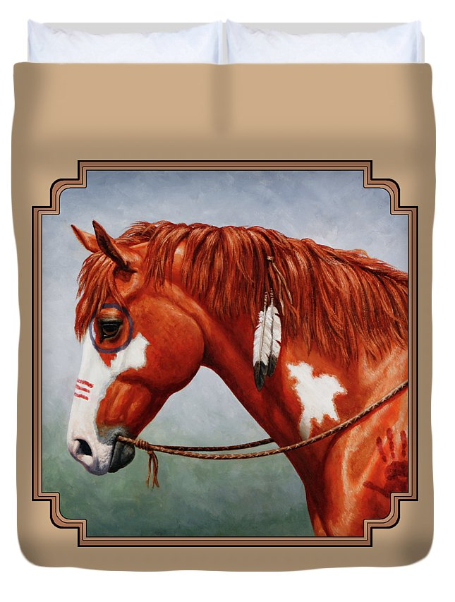 Horse Duvet Cover featuring the painting Native American War Horse by Crista Forest