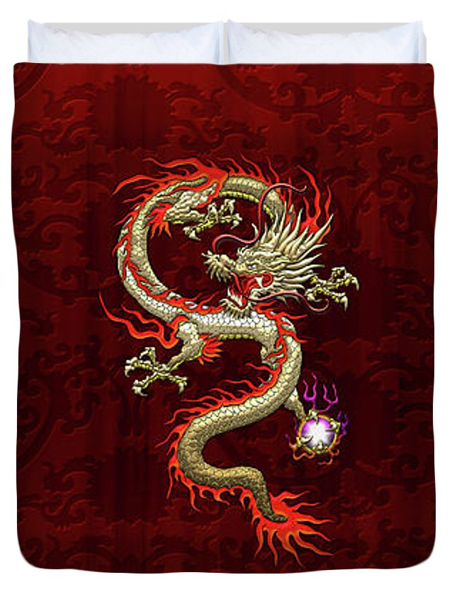 'treasures Of China' Collection By Serge Averbukh Duvet Cover featuring the digital art Golden Chinese Dragon Fucanglong On Red Silk by Serge Averbukh