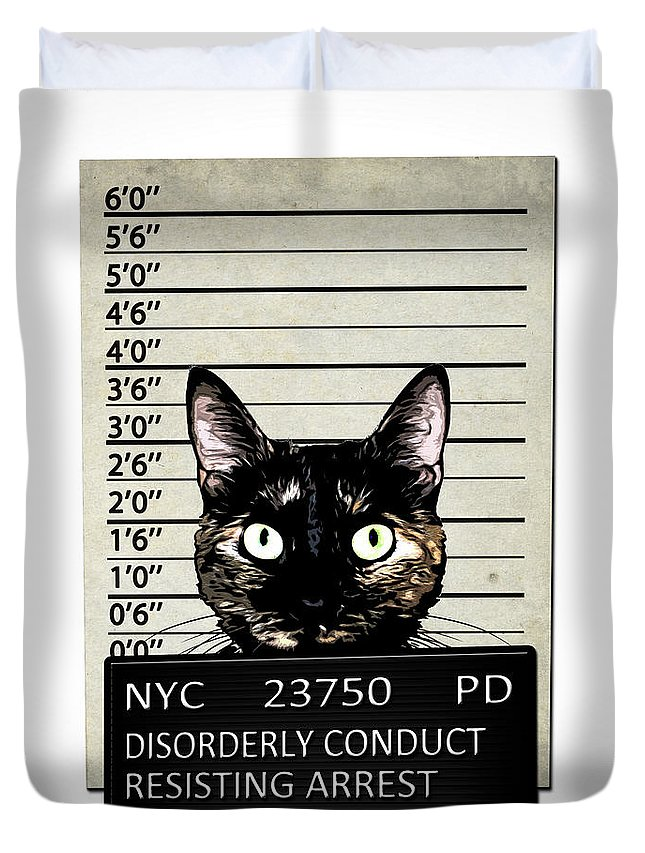 Cat Duvet Cover featuring the mixed media Kitty Mugshot by Nicklas Gustafsson