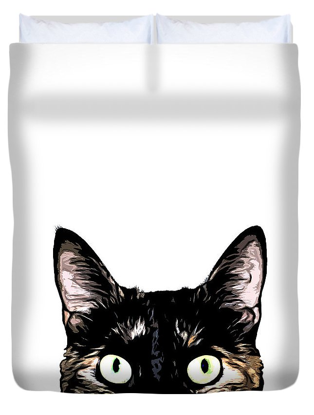 Cat Duvet Cover featuring the mixed media Peeking Cat by Nicklas Gustafsson