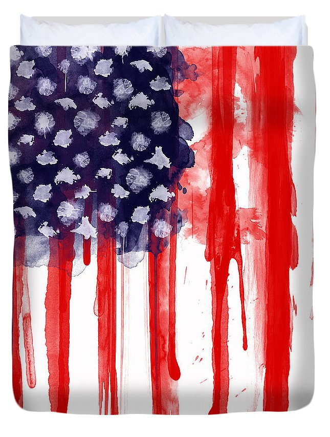 America Duvet Cover featuring the painting American Spatter Flag by Nicklas Gustafsson