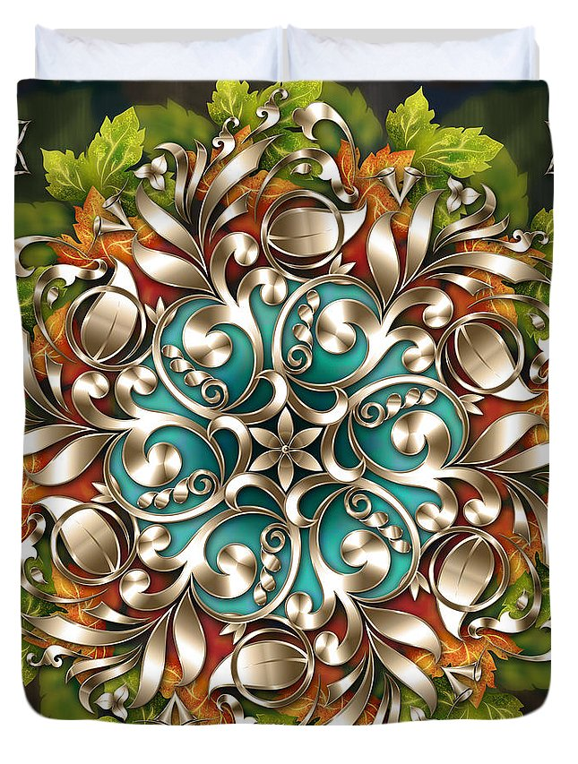 Texture Duvet Cover featuring the digital art Mandala Metallic Ornament by Peter Awax