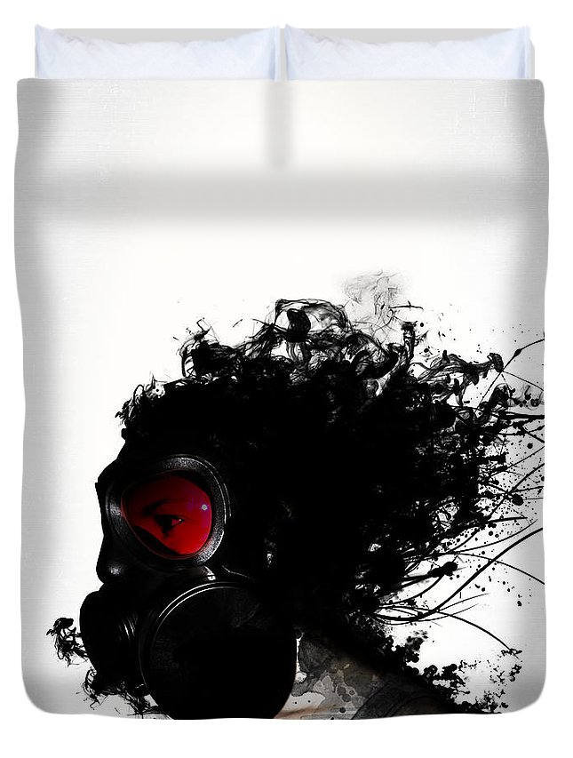 Gas Duvet Cover featuring the mixed media Ghost Warrior by Nicklas Gustafsson