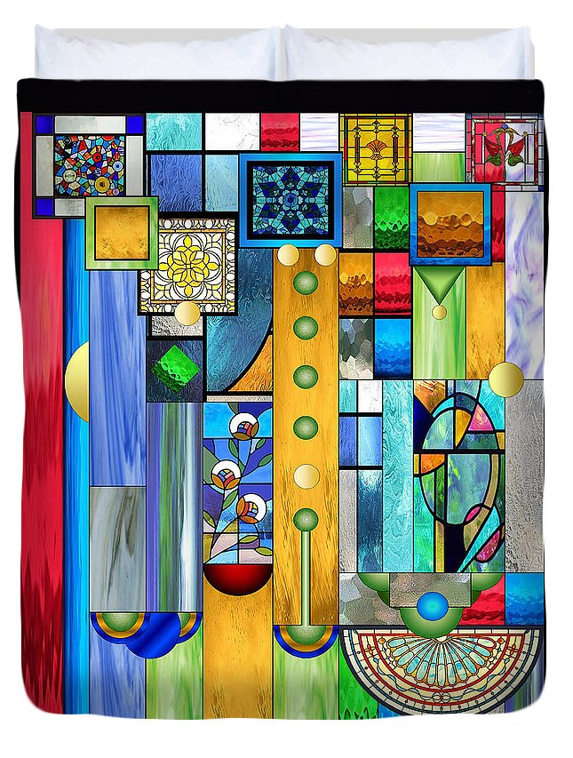 Art Deco Stained Glass Duvet Cover featuring the mixed media Art Deco Stained Glass 1 by Ellen Henneke