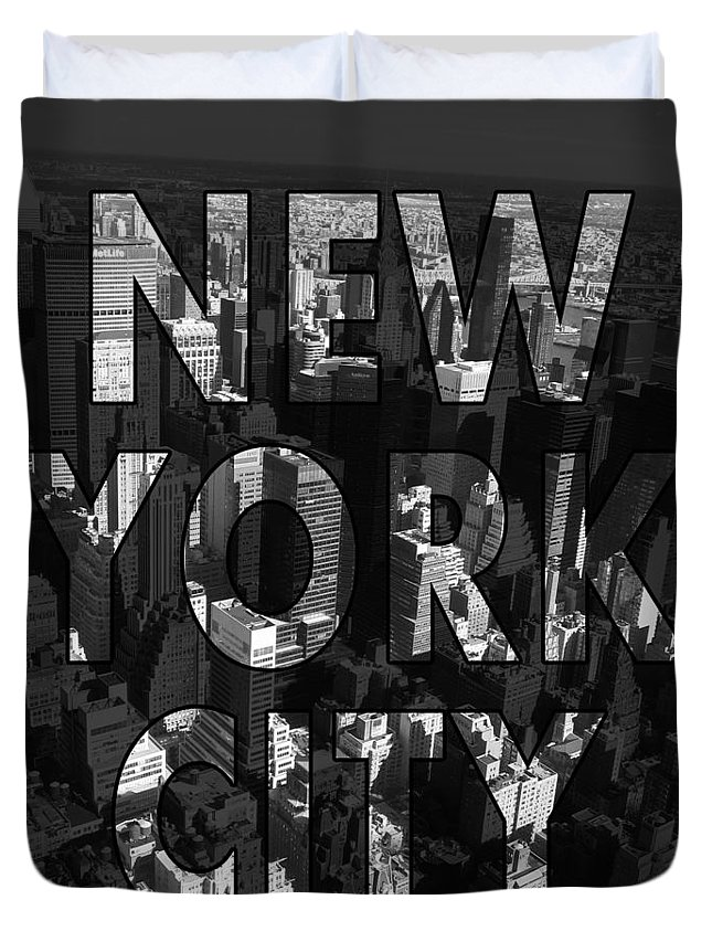New York Duvet Cover featuring the photograph New York City - Black by Nicklas Gustafsson