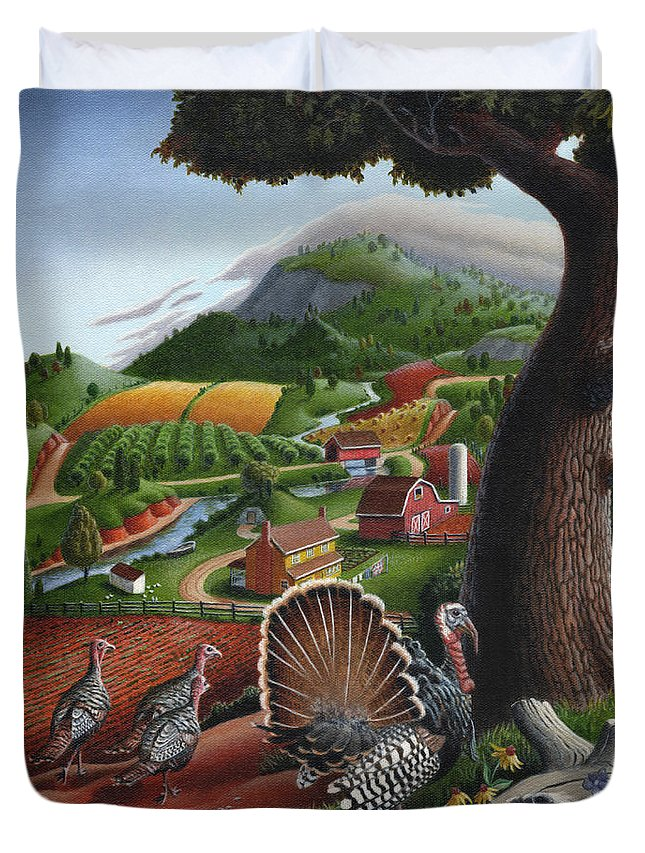 Wild Turkey Duvet Cover featuring the painting Wild Turkeys Appalachian Thanksgiving Landscape - Childhood Memories - Country Life - Americana by Walt Curlee