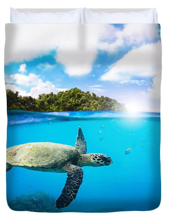 Summer Duvet Cover featuring the digital art Tropical Paradise by Nicklas Gustafsson