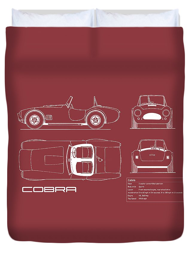 Ac Cobra Duvet Cover featuring the photograph Ac Cobra Blueprint - Red by Mark Rogan