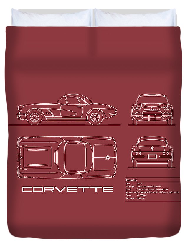 Chevrolet Corvette Duvet Cover featuring the photograph Corvette C1 Blueprint - Red by Mark Rogan