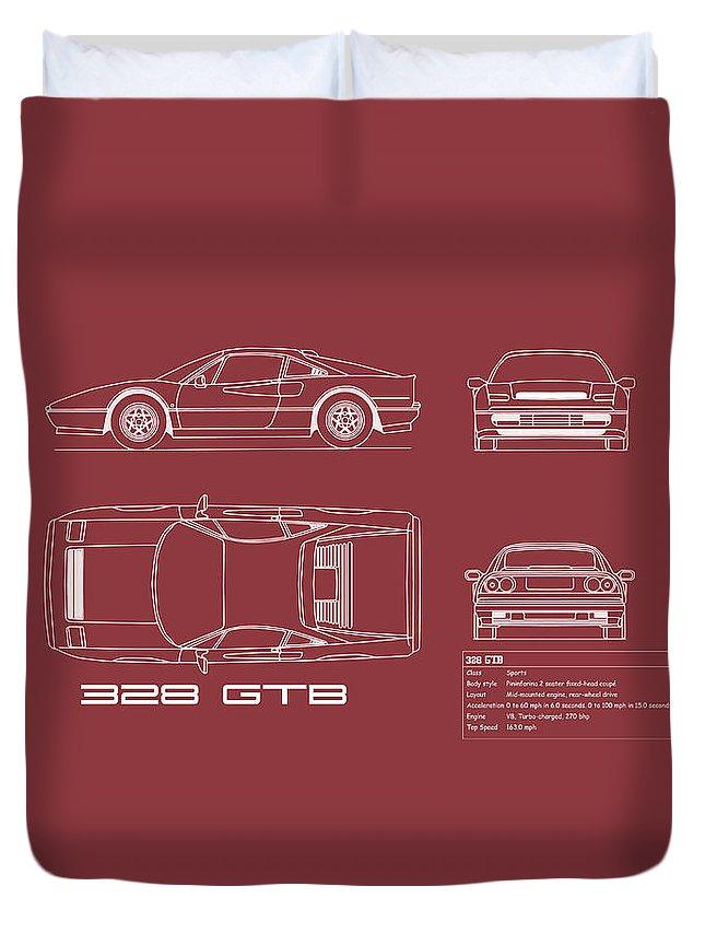 Ferrari Duvet Cover featuring the photograph Ferrari 328 Gtb Blueprint - Red by Mark Rogan