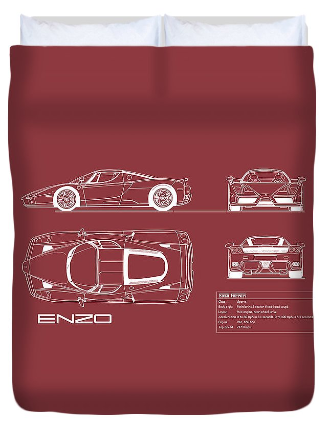 Ferrari Duvet Cover featuring the photograph Enzo Ferrari Blueprint - Red by Mark Rogan