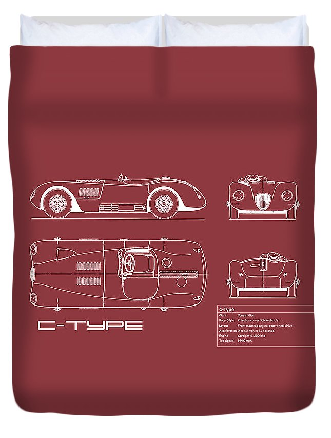 Jaguar C-type Duvet Cover featuring the photograph Jaguar C-type Blueprint - Red by Mark Rogan