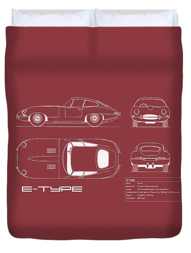 Jaguar E-type Duvet Cover featuring the photograph Jaguar E Type Blueprint - Red by Mark Rogan