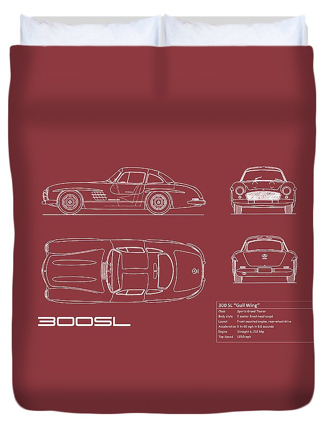 Mercedes Duvet Cover featuring the photograph Mercedes 300 Sl Blueprint - Red by Mark Rogan