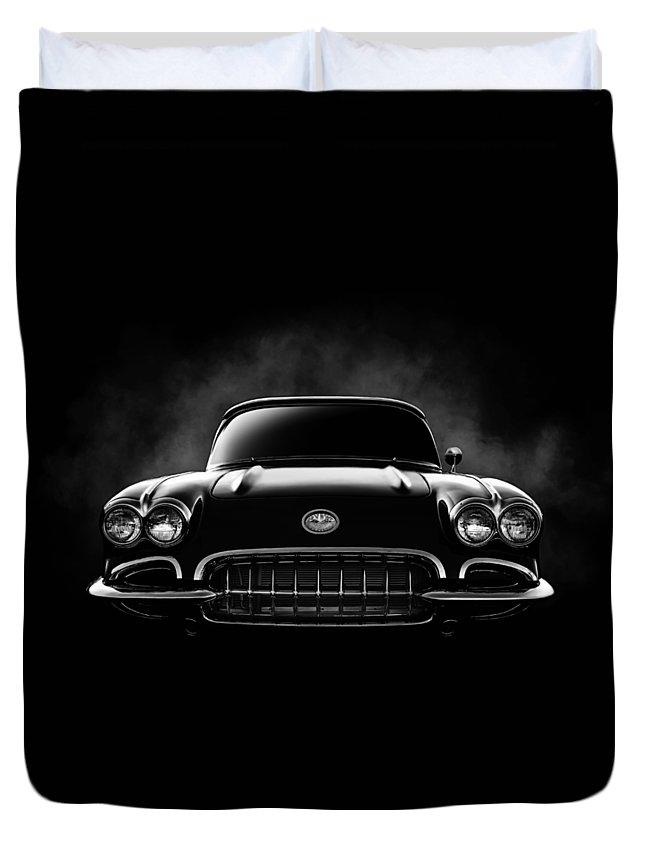 Corvette Duvet Cover featuring the digital art Circa '59 by Douglas Pittman